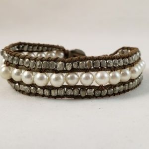 American Eagle Faux Pearl and Bead Woven Bracelet